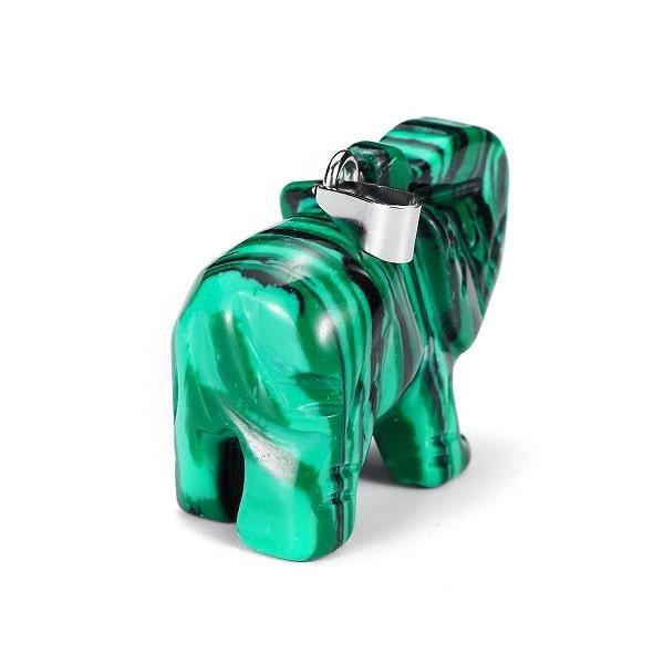 Pendentif éléphant malachite verte