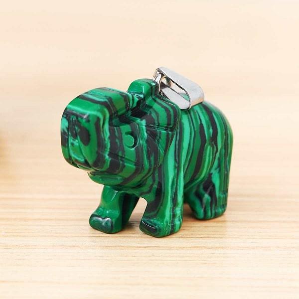 Pendentif éléphant malachite