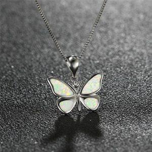 Pendentif papillon argent blanc