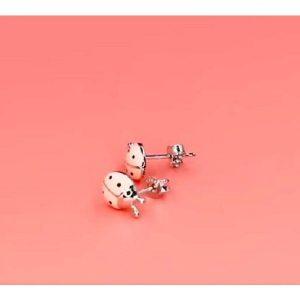 Boucle d'oreille coccinelle rose en argent 925