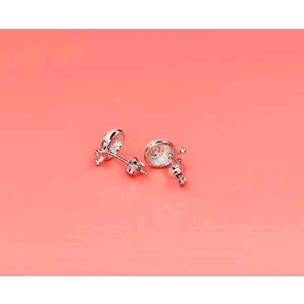 Boucle d'oreille coccinelle rose en argent sterling 925