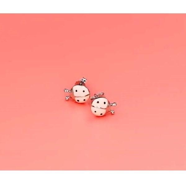 Boucle d'oreille coccinelle rose en argent