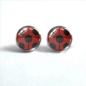 Boucle d'oreille coccinelle rouge