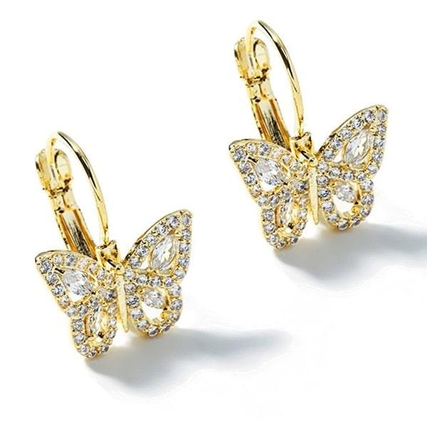 Boucle d'oreille papillon femme, dorée