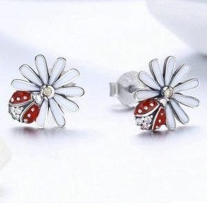 Boucle oreille coccinelle fleur