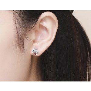Boucles d'oreilles pour femme, coccinelle et fleur
