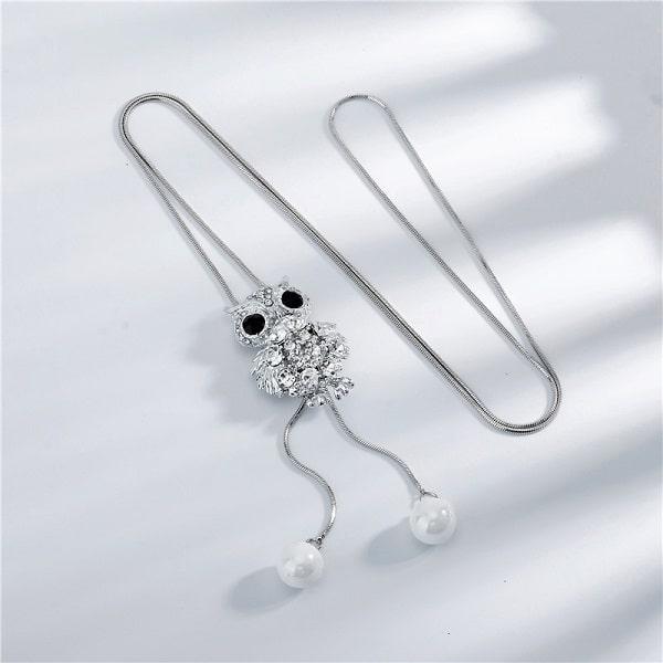 Collier fantaisie hibou à perles