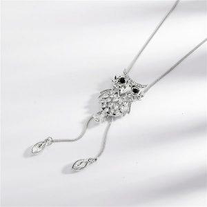 Collier fantaisie hibou blanc