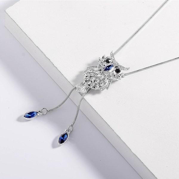 Collier fantaisie hibou bleu