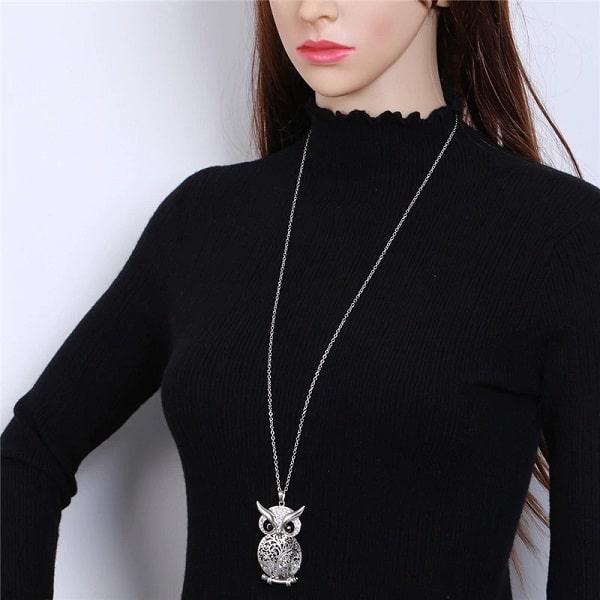 Collier pendentif hiboux, longue chaîne