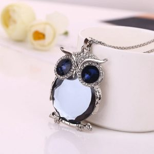 Pendentif hibou strass avec chaine