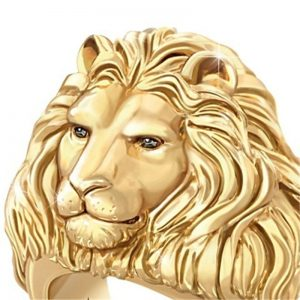 Bagie tête de lion or, à crinière