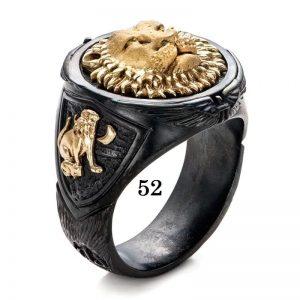 Bague lion homme 52