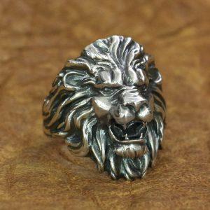 Bague tête de lion argent