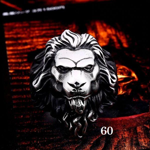 Bague tête de lion homme 60