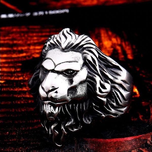 Bague tête de lion homme