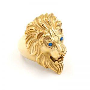 Chevalière homme or lion