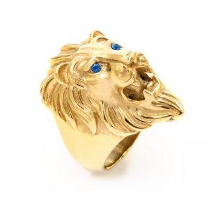 Chevalière homme or lion aux yeux bleus