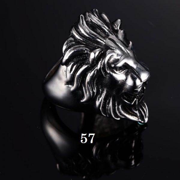 Chevalière homme tête de lion 57