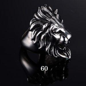 Chevalière homme tête de lion 60
