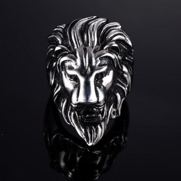Chevalière homme tête de lion