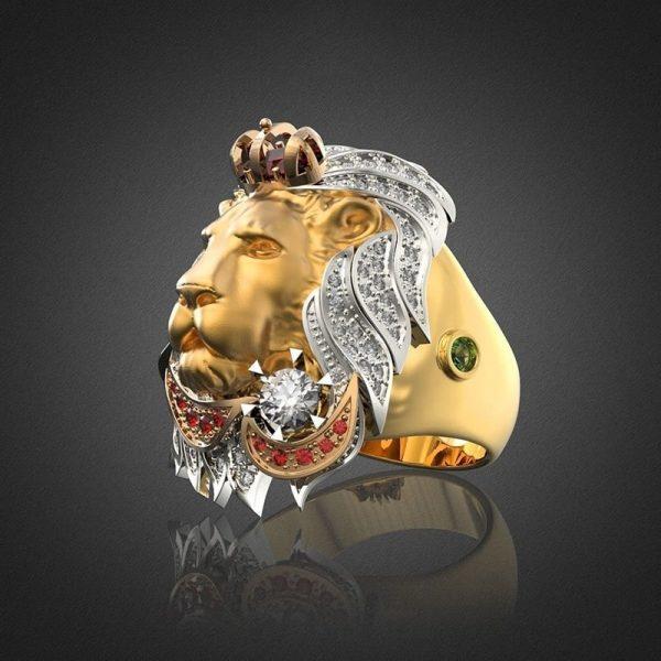 Chevalière lion or