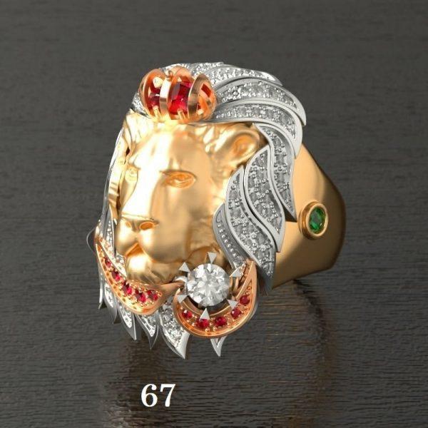 Chevalière lion or 67