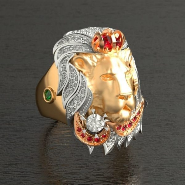 Chevalière lion or luxe