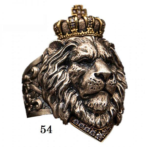 Chevalière tête de lion 54
