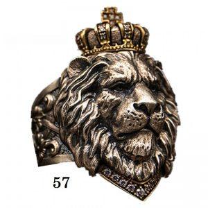 Chevalière tête de lion 57