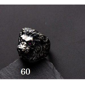 Chevalière tête de lion argent 60
