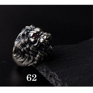 Chevalière tête de lion argent 62