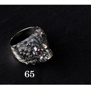 Chevalière tête de lion argent 65