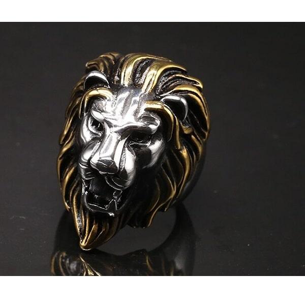 Tête de lion bague en acier