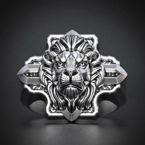 Bague tête lion