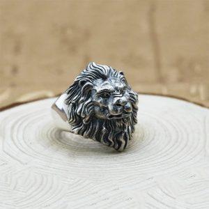 Chevalière homme argent tête de lion