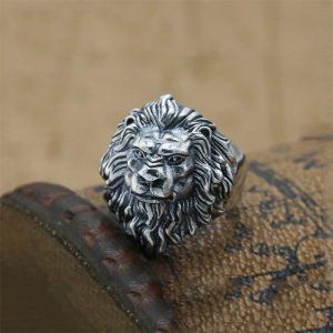 Chevalière homme tête de lion argent 925