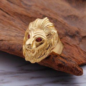 Chevalière homme tête de lion couleur or