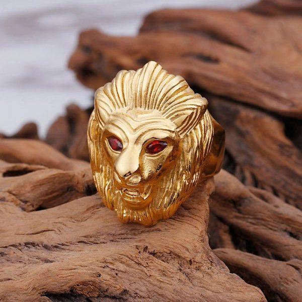 Chevalière homme tête de lion or