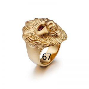 Chevalière homme tête de lion or 67