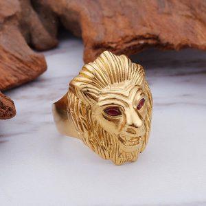 Chevalière homme tête de lion or yeux rouge